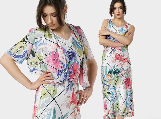 Lubisz kwiatowe wzory i zastanawiasz się, co założyć na wesele po 50? Sukienka VIRGINIA jest dla Ciebie stworzona!