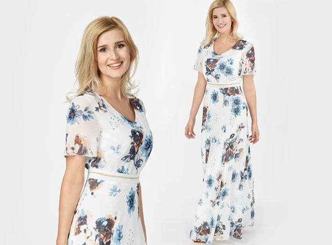 sukienki letnie maxi - JÓZEFINA w kwiatowy wzór podkreśla talię