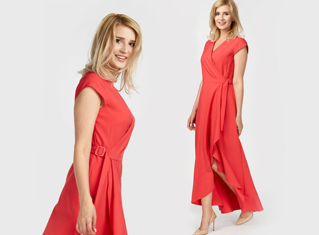 sukienki letnie maxi - VALENCIA z efektownym rozcięciem