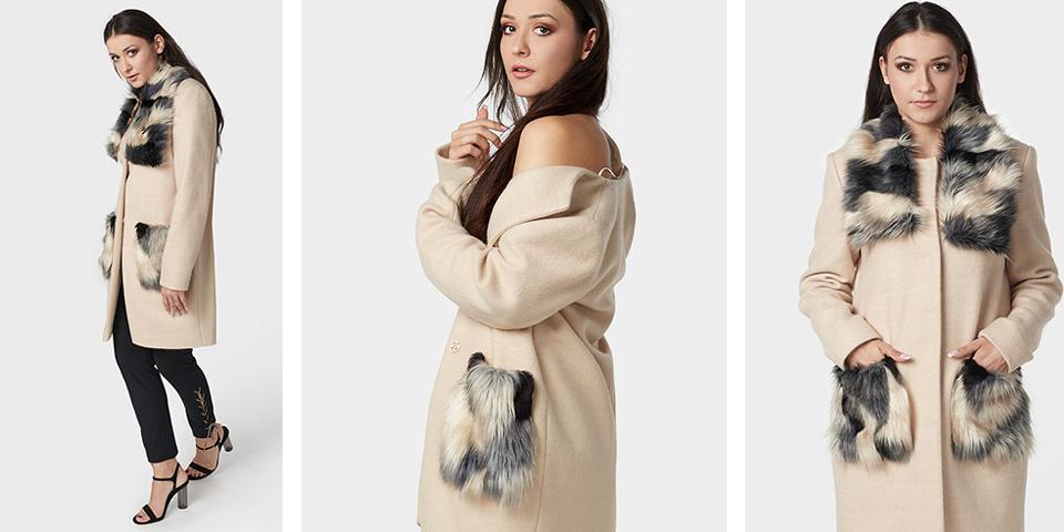 Płaszcz klasyczny beżowy aby urozmaicić zimowe stylizacje FRESHE
