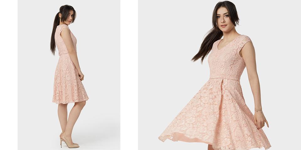 Sukienka weselna midi rozkloszowana