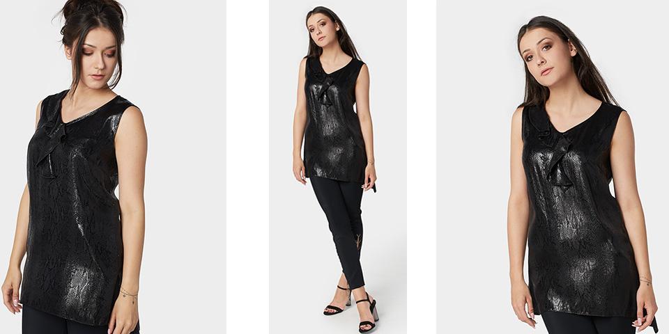Tunika czarna elegancka z pięknej tkaniny na sylwestra i karnawał