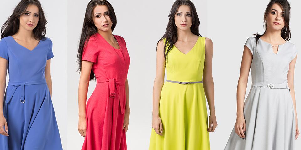 Sukienki rozkloszowane i podkreślające górę to wybór dla pani gruszki