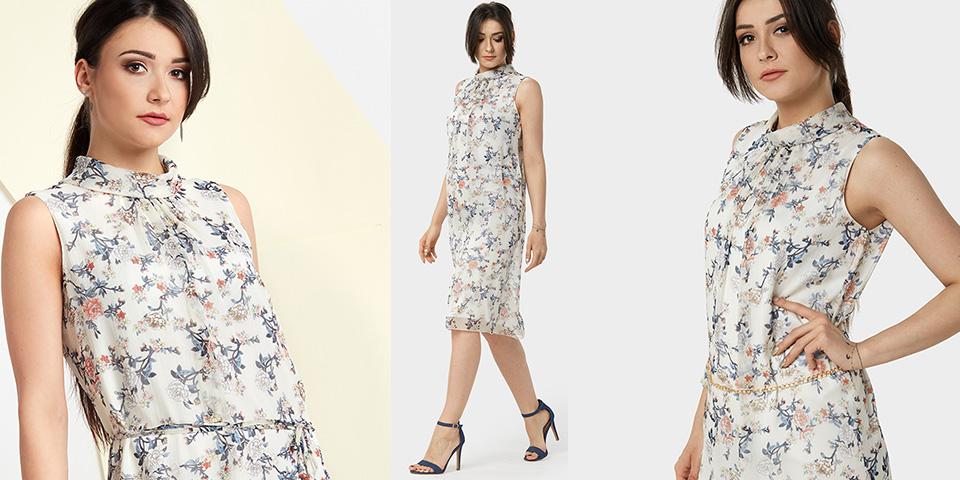 Delikatny deseń i zwiewna tkanina w sukience Piko