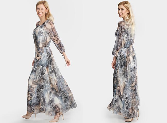 Sukienki na lato, długie z rękawem długie sukienki Bee Collection