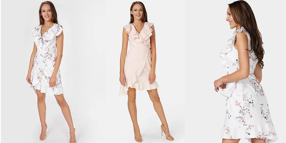 Sukienka z zaznaczona talią dla niskich osób Bee Collection