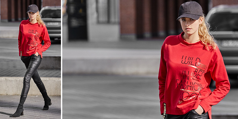Wygodna czerwona bluza z dzianiny w stylu sportowej elegancji FRIEND