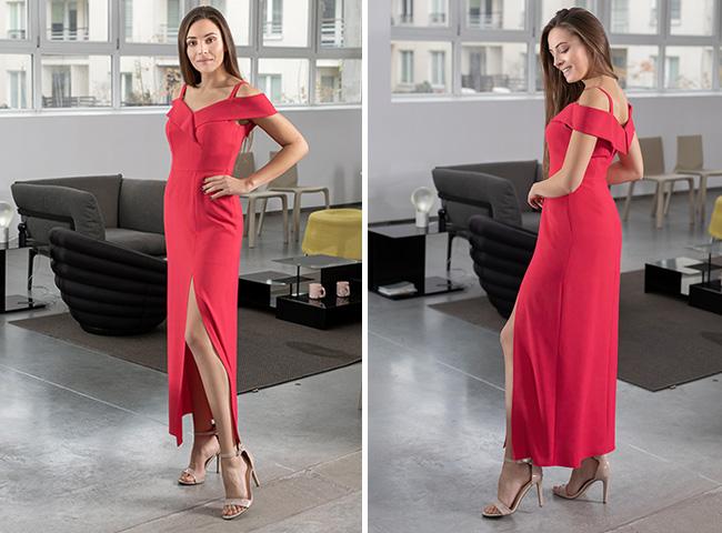 Czerwona, ołówkowa sukienka wieczorowa, długa z rozcięciem na nodze KASJANA