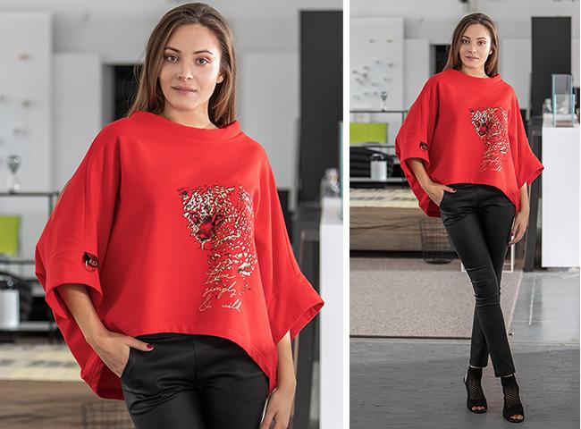 Wygodna bluza z czerwonej dzianiny oversize z drukiem zwierzęcym NIETOPERZ