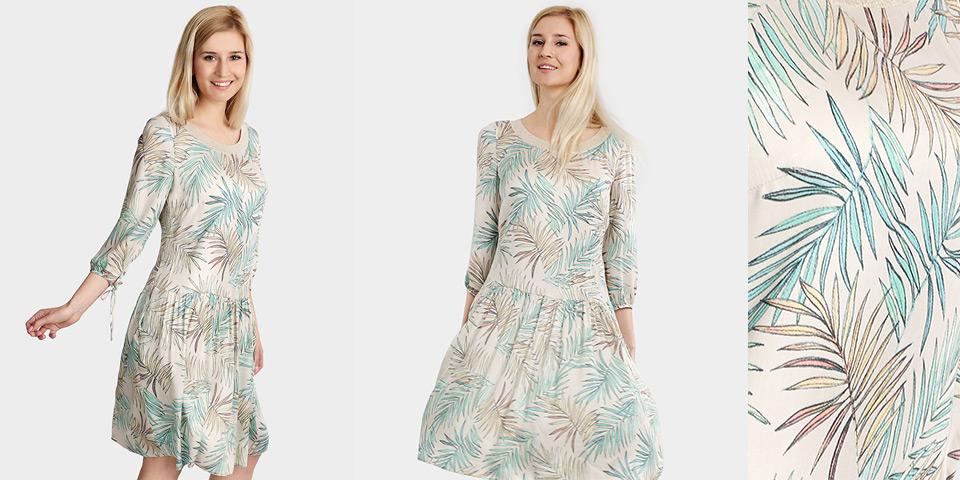 Luźna, lekka sukienka z wiskozy ze złotymściagaczem