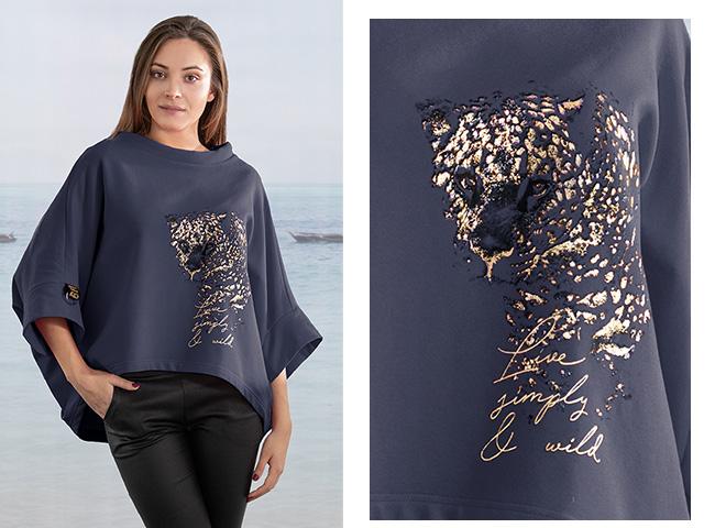 Granatowa oversizowa bluza jako ubranie po domu Niren Bee Collection