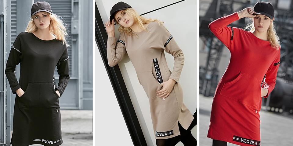 Elegancki, sportowy, luźny fason sukienki po domu Bee Collection Vilo
