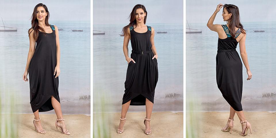 Czarna, wygodna letnia sukienka z dzianiny wiskozowej BENIN