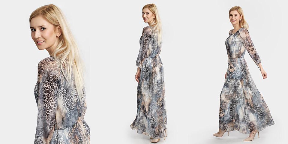 Bardzo długa letnia sukienka z rękawem AFRYKA