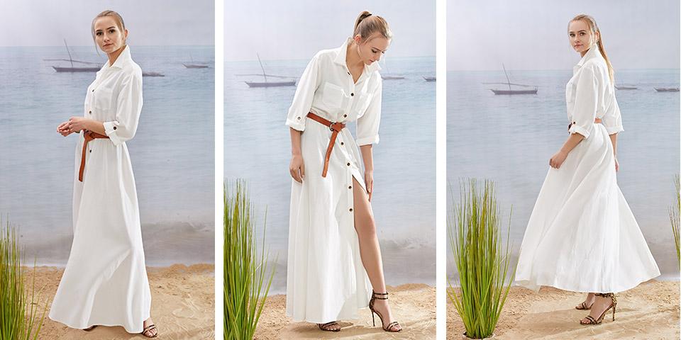 Maxi śmietanowa sukienka VELMA w stylu safari