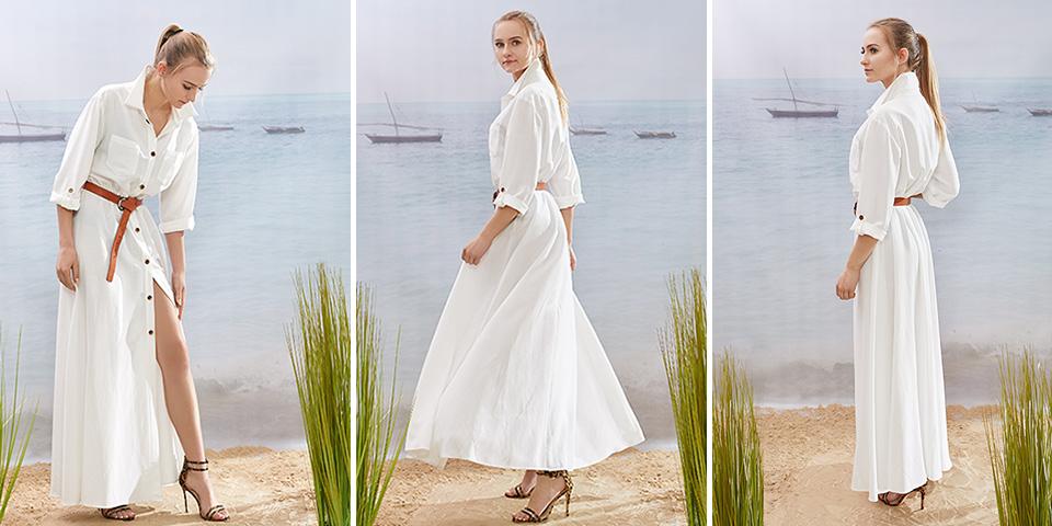 Sukienka safari, biała, długa, rozpinana, do małej walizki