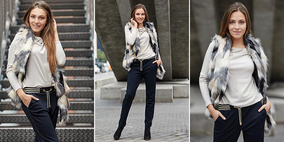 Nowoczesne modne wygodne spodnie w stylu sportowym Bee Collection Anatola