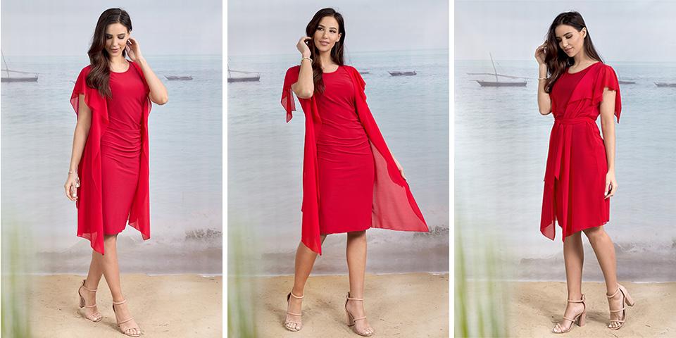 Kobieca elegancka czerwona sukienka z dzianiny na Wigilię Bee Collection