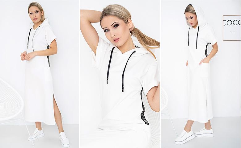 Biała długa sukienka z kapturem, taliowana z dzianiny na wiosnę Bee Collection